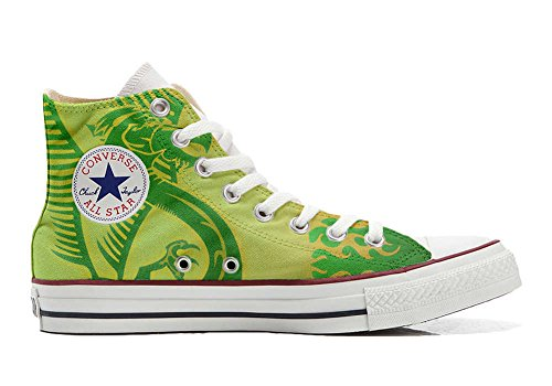 Schuhe Custom Converse All Star, personalisierte Schuhe (Handwerk Produkt customized) Dragone verde, sfondo giallo