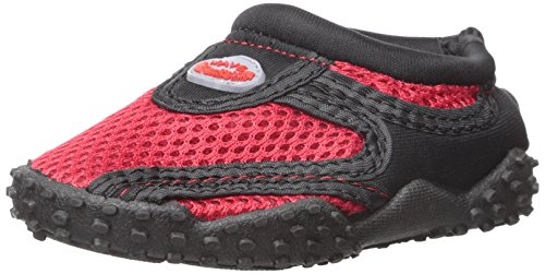 Childrens Kids Wave Water Shoes Pool Beach Aqua Socks Black/Red