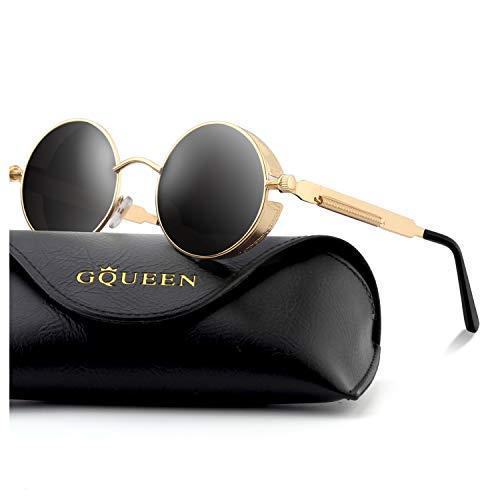 - GQUEEN Retro Round Circle Steampunk Sunglasses Polarized Metal Alloy for Women Men MTS2