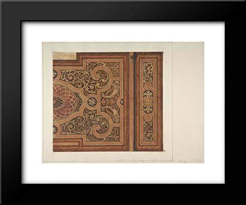 Jules-Edmond-Charles Lachaise - Eugene-Pierre Gourdet - 18x15 Framed Museum Art Print- Intarsia Ceiling Design for The Dining Room, Chateau de Deepdene