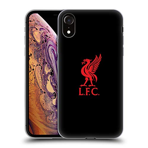 Official Liverpool Football Club Red Logo On Black Liver Bird Soft Gel Case for iPhone XR