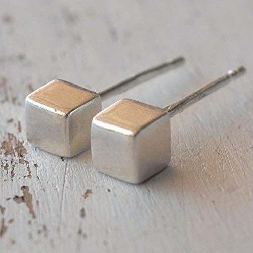 (Cube Studs Sterling Silver Post 4 mm)