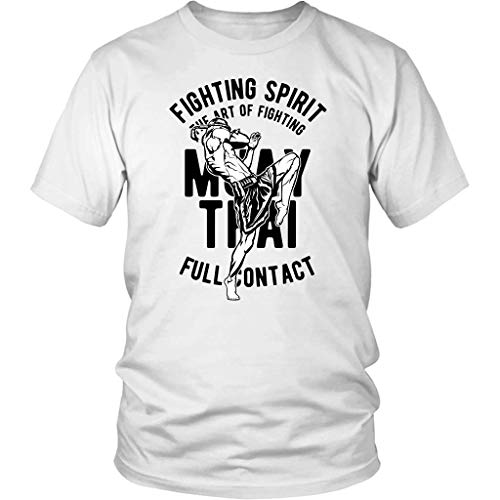Fighting T-shirt Spirit (Cotton Unisex Shirt Available in White with Big Sizes - Muay Thai Fighting Spirit - Unique Gift for Martial Artist)