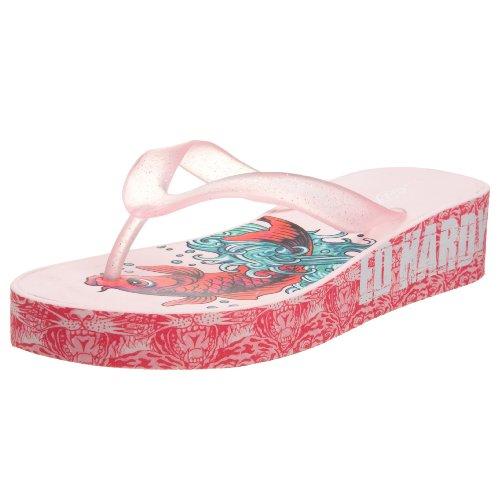 Ed Hardy Dames Kim Wedge Flip Flop Pink-19skm106w