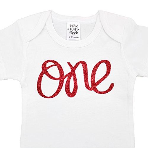 Red Infant Onesie - Olive Loves Apple 1st Birthday Onesie Girl Glitter Onesie Red 1st Birthday Onesie For Baby Girls, Red Glitter, 6-12 Long Sleeve