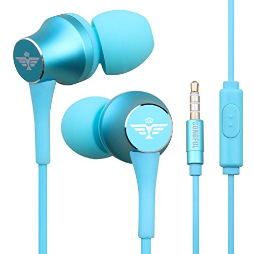 In-Ear Headphones Earbuds with Mic Controller Case, sport Running Gym Exercise Sweatproof Music bose Wired Earphones, For IPhone IPad Android Smartphones Mp3 Mp4 Player Tablet Kids (Blue)