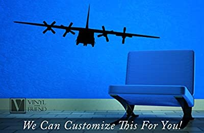 military Cargo plane quad engine propeller powered airplane front view silhouette LARGE - a wall decor vinyl decal graphic sticker art 2385