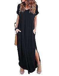 7fbe142c779 ZIOOER Women s Casual Loose Pocket Long Dress Short Sleeve Split Maxi  Dresses