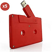 Usbkingdom 8GB Red Cassette Tape Shape USB 2.0 Flash Drive Memory Stick Pendrive (Pack of 5)
