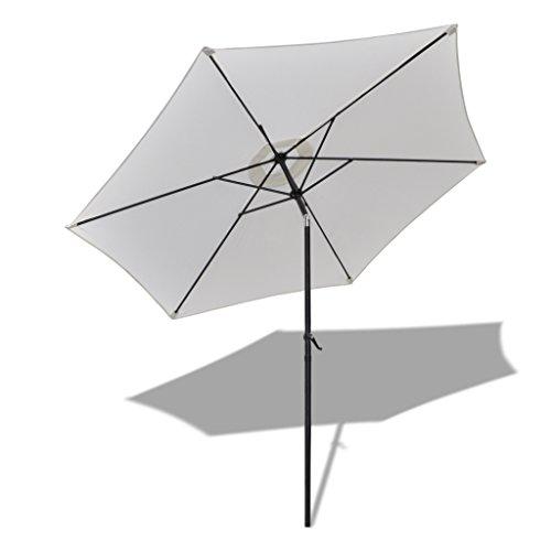 10' Outdoor Patio Umbrella Aluminum Market Umbrella Garden Parasol with Crank Lift & Auto Tilt, 6 Steel Ribs, 100% Polyester - Diamond Shape, White