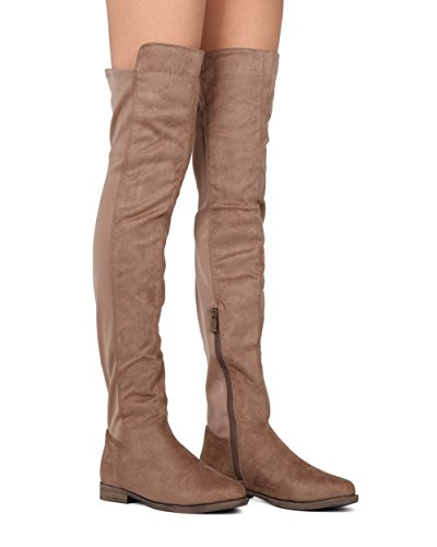 Liliana Knee Thigh High Flats Boots w/Neoprene Willy2 Taupe FtKPZfx