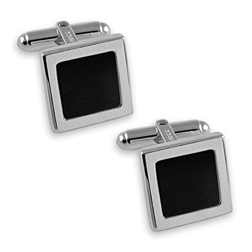 Box onyx Clip Sterling Set Cufflinks silver square Tie Sterling silver Ongw8pxxq