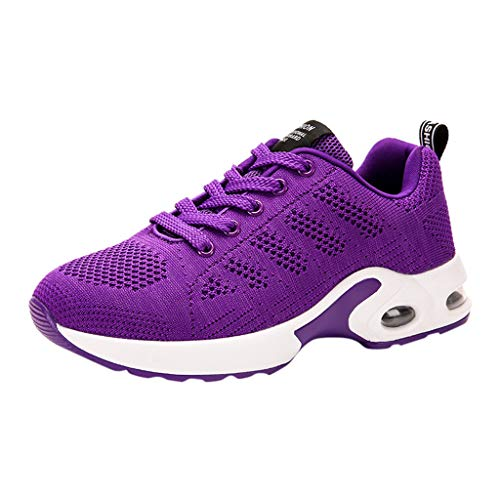 Pengy Women's Breathable Anti-Slip Shoes Cushion Lace Up Sneakers Shoes Ladies Outdoor Running Shoes Purple ()