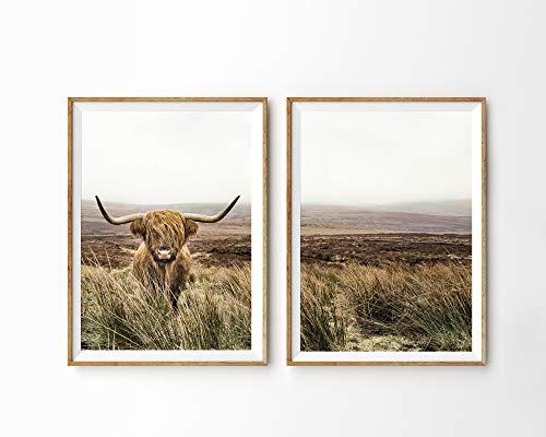 Scottish Farm - MalertaART Set of 2 Prints Highland Cow Print Scottish Cow Shaggy Cow Modern Farmhouse Decor Printable Art Farm Animal Print 2 Piece Wall Art Prints Framed Wall Art