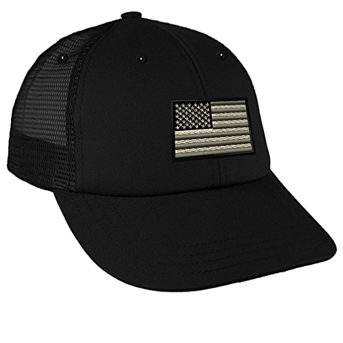 Black White American Flag Embroidery Low Crown Mesh Golf Snapback Hat Black