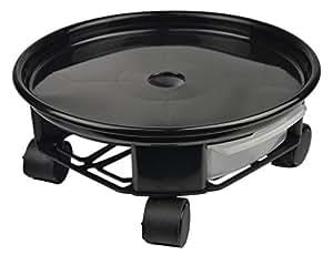 """lovmutd 13""""plant Caddy–Maceta móviles Dolly carrito bandeja Pallet con ruedas de ruedas y un contenedor de agua, negro, para interior y exterior para árbol de flores soporte"""