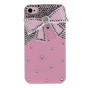 SJT Metal Bowknot with Diamond Pink Hard Case with Nail Adhesive for iPhone 4/4S