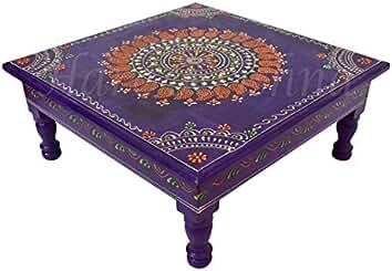 Merveilleux HNC00226 Purple Hand Painted Wood Low Side Table Small Worship Pooja Chowki  13 X 13 X
