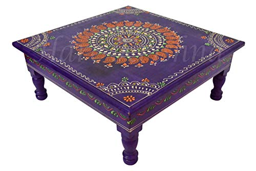 - Antique Style Wooden Hand Painted Side Coffee Low Table Furniture (Purple) 13 x 13 x 5.5 Inches