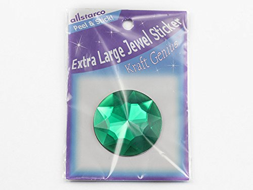 50mm Emerald H106 Extra Large Self Adhesive Round Jewels - 2 Pieces