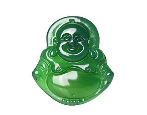 pure natural Handmade green agate Lucky Happy laughter Maitreya Buddha Pendant necklace Lucky Buddha Pendant