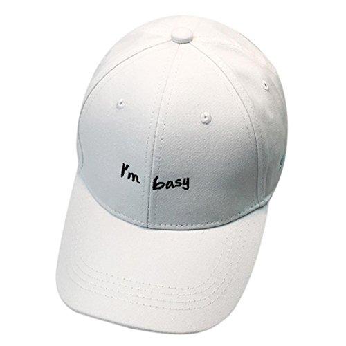 Gotd Women Men Couple Embroidery Letter Baseball Cap Unisex Snapback Hip Hop Flat Hat (White)
