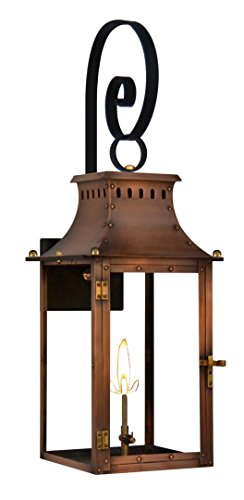 The CopperSmith Market Street Gas Lantern with Top Scroll - Light 16 Williamsburg