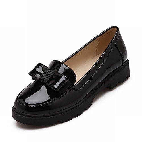 Show Shine Damesmode Sweet Bows Loafer Flats Schoenen Zwart