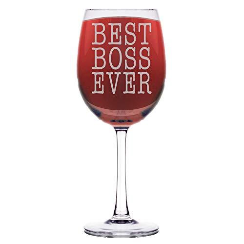 - Shop4Ever Best Boss Ever Laser Engraved Stemmed Wine Glass ~ Gift for Boss Manager Mentor Office Gift Bosses Day ~ (Stem, 16.5 oz.)