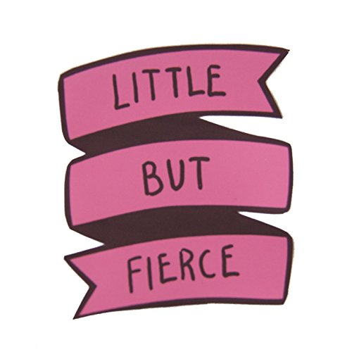 Feminist-Sticker-of-Pink-Banner-with-Little-But-Fierce-Shakespeare-Quote