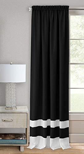 - Ben & Jonah PrimeHome Collection Darcy Rod Pocket Window Curtain Panel-52x63-Black/White, Black/White