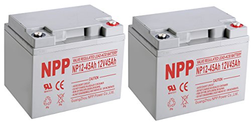 NPP 12V 45 Amp NP12 40Ah 45Ah Rechargeable Sealed Lead Acid Battery With Button Style Terminals / 2 Pack by NPP