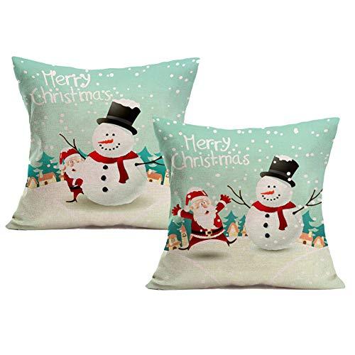 Royalours Pillow Covers Merry Christmas Series Throw Pillow Case Decorative Cushion Cover Cotton Linen Santa Claus Pillowcase Square 18