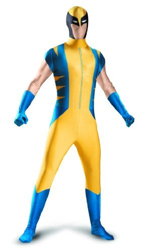 Disguise Marvel The Wolverine Bodysuit Mens Adult Costume, Yellow/Blue, X-Large/42-46