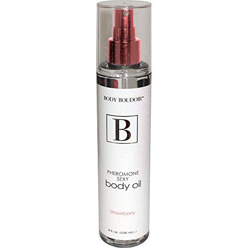 Body Boudoir Pheromone Sexy Body Oil for Sensual Massage, 8 fl. oz, Strawberry
