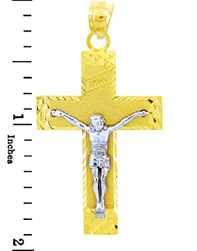 10 ct 471/1000 Or Avec Deux Tons Crucifix - La Euphorie Crucifix Pendentif