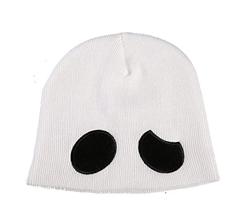 Moniku Team Skull Grunt Embroidered Beanie Knit Cap, White, One Size