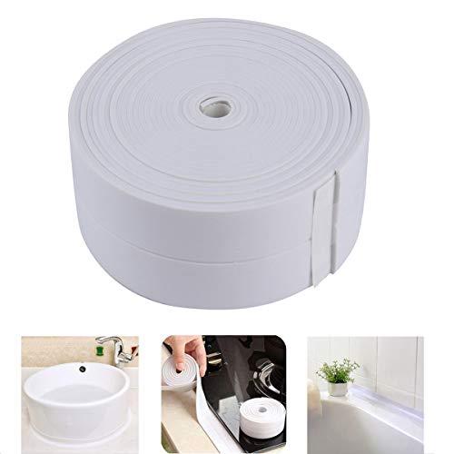 Sealing Strip Flexible Self Adhesive Caulking Tape Waterproof for Kitchen Bathroom Tub Shower Floor Wall Edge Protector (White, 126x1.5 Inches)