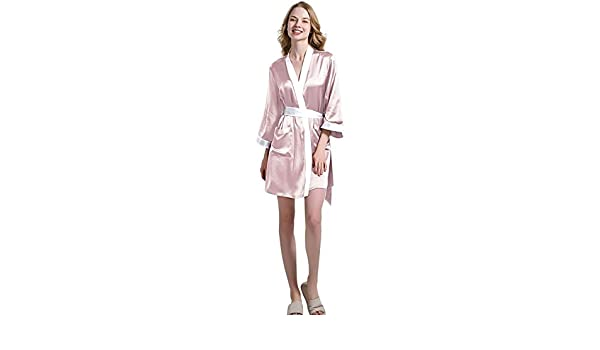 aabb555ef6 OOSILK Women's 100% Mulberry Silk Short Silk Robe 22 Momme Pure Charmeuse  Adjustable Belt Silk Bathrobe Dressing Gown at Amazon Women's Clothing  store: