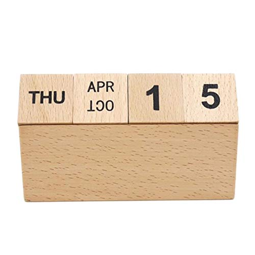 STOBOK Vintage Wooden Calendar Desk Calendar Manual Calendar Office Table Home Ornament Decor