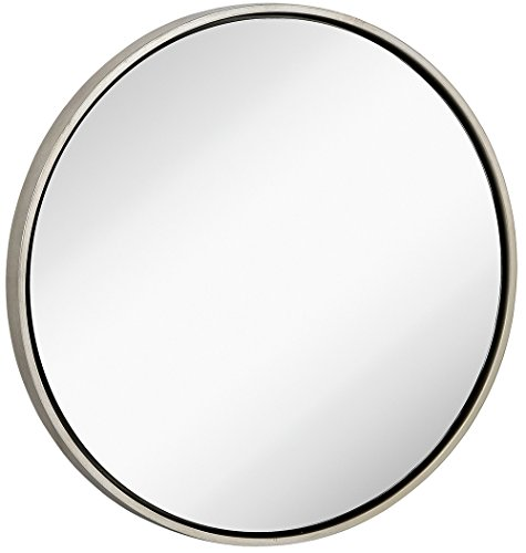 Hanging Bathroom Vanity (Clean Large Modern Antiqued Silver Circle Frame Wall Mirror | Contemporary Premium Silver Backed Floating Round Glass Panel | Vanity, Bedroom, or Bathroom | Hanging)