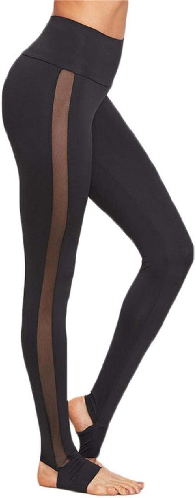 SHOBDW Pantalones Deportivos Mujer Malla Negra Splice Yoga Flaco ...