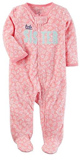 Carters Purple Fleece - Carter's Toddler Girls' 1 Pc Fleece Footed Sleeper Pajamas (3 Months, Little Sister)