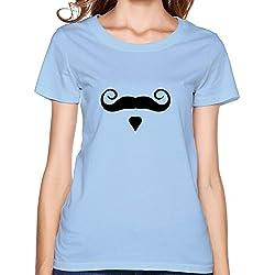 Momoco Women's Funny Beard O-neck T-shirts L SkyBlue