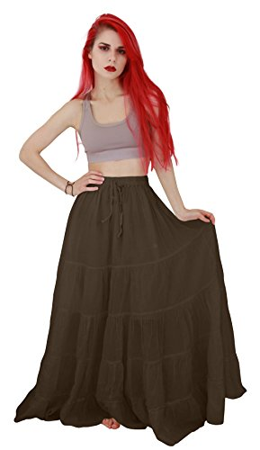 (Billy's Thai Shop Cotton Maxi Skirt Boho Hippie Skirt Long Skirts for Women, Choco)