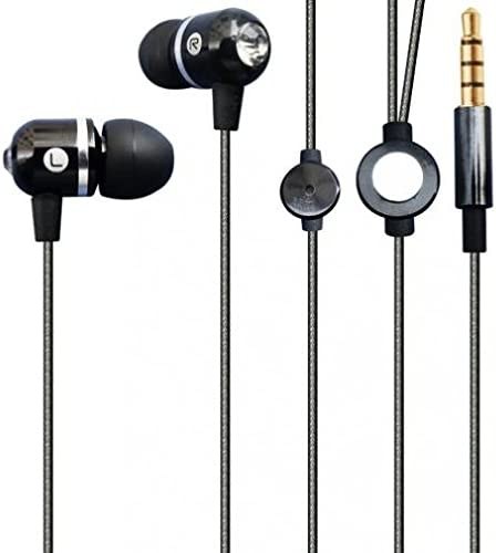 Hi-Fi Sound Earbuds Hands-free Earphones w Mic Sleek Metal Headphones Headset Wired 3.5mm for Amazon Kindle, DX, Fire, Fire HD 6 8.9 - HD 7 8 10 - Fire Kids Edition - Kindle Fire HDX, HDX 7, HDX 8.9