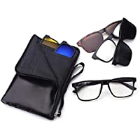 Set 5 in 1 Polarized Mirror Lens Magnet Clip on Sunglasses 1 Optical Frame & 5 Lens Set