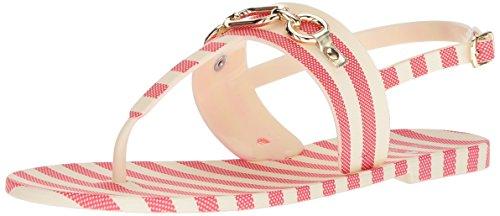 Spade Rubber Striped Cream York Sandal New Red Flat Kate Women's Polly M US dvUpxq8w