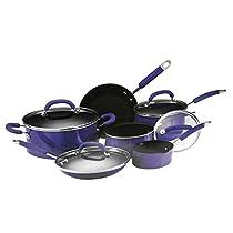 Rachael Ray 10 Piece Porcelain Enamel Cookware Set-Blue