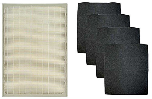 1 Set Whirlpool 1183051K (1183051) Compatible HEPA Filter with 4 Pre-Carbon Filters Fits Whispure Air Purifier Models AP25030K, APR25530L, APR25130L; Replaces Part # 1183051 1183051K